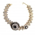 Diantha Black Crystal Flower Statement Necklace
