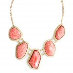 Marbled Amber Orange Geometric Resin Stone Statement Necklace