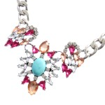 Crystal SunBurst Turquoise Cabochon Statement Necklace