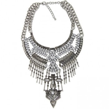 Aztec Totem Silver Boho Statement Necklace