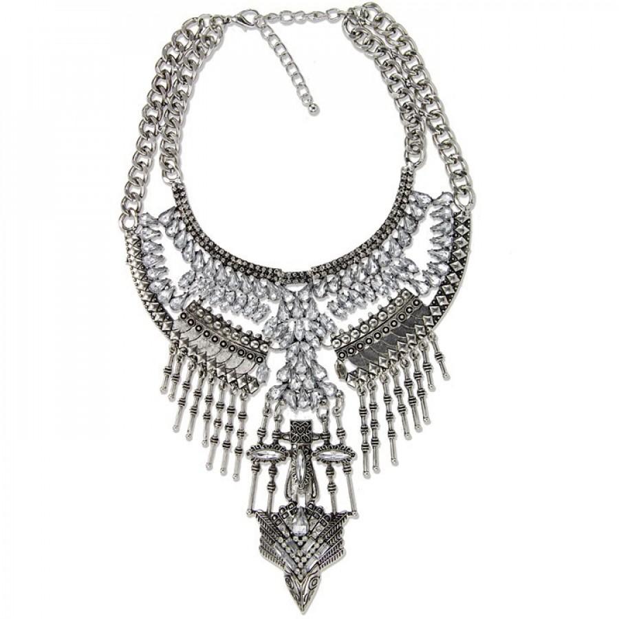 Falkor Aztec Totem Western Silver Boho Edgy Statement Necklace