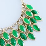 Ombre Green Laurel Cascade Bib Necklace