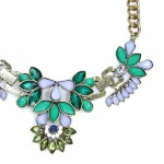 Water Lilies Floral Crystal Encrusted Necklace