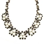 Pearl Florals Black Beaded Statement Necklace