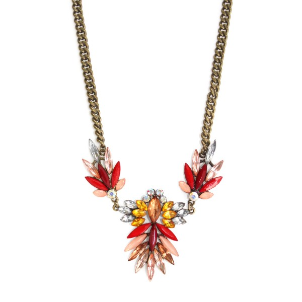 Firecracker Spike Stone Pendant Trio Necklace