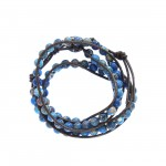 Blue Jasper Stone on Brown Leather Wrap Bracelet
