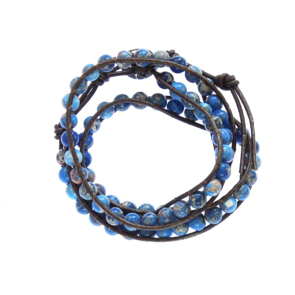 Blue Jasper Stone On Brown Leather Wrap Bracelet