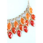 Ombre Orange Laurel Cascade Bib Necklace