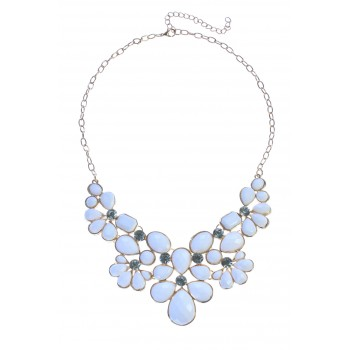 White Stone Flower Cluster Bib Necklace