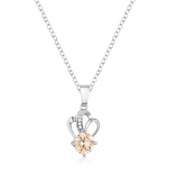 7mm Champagne Cubic Zirconia Pendant Delicate Necklace