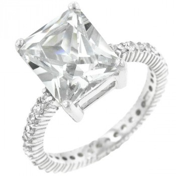 Radiant Cut Sterling Silver CZ Engagement Ring