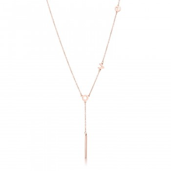 Love Lariat Stainless Steel Rose Gold Minimal Necklace