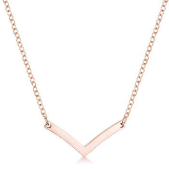 Stainless Steel Rose Gold-tone Chevron Dainty Necklace
