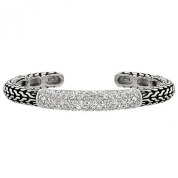 Sterling Silver Tribal Cubic Zirconia Bangle
