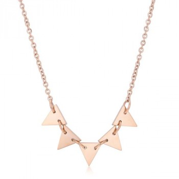 Trisa Rose Gold Stainless Steel Delicate Triangle Station Necklace