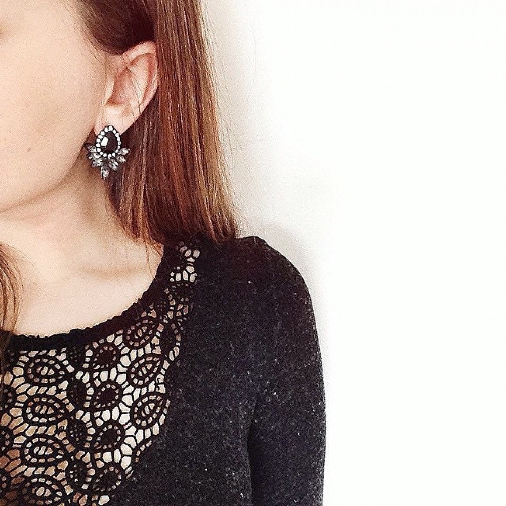 'finella' Crystal Feather Statement Earrings '