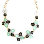 Cera Mint Four Leaf Clover Crystal Necklace