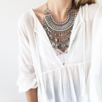 Antalya Turquoise Aztec Coin Fringe Statement Necklace