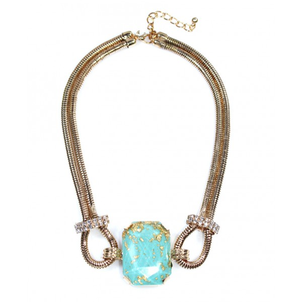 'Eryx' Turquoise Stone Gold Foils Statement Necklace
