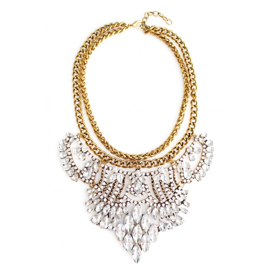 waterfall cloudystone products necklace gld beaded bib