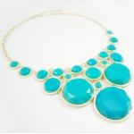 Teal Bubble Dots Cascade Bib Necklace