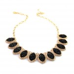 Black Druzy Marquise Linked Bib Necklace