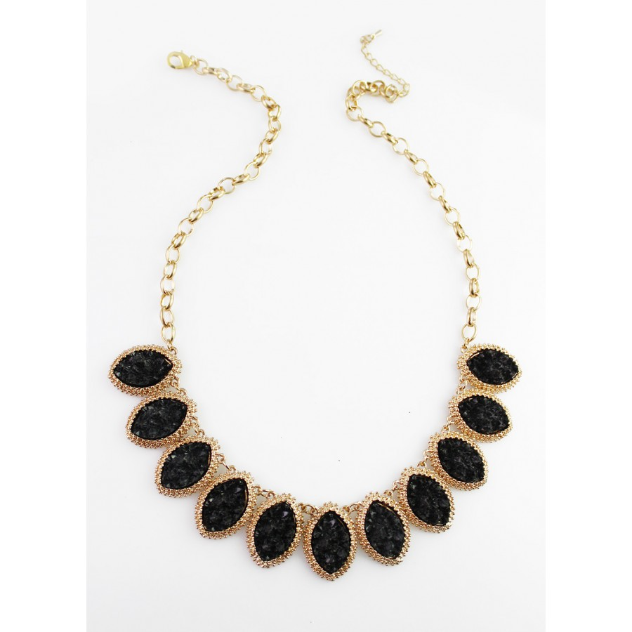 855f0f08c Black Druzy Marquise Stone Linked Bib Statement Necklace