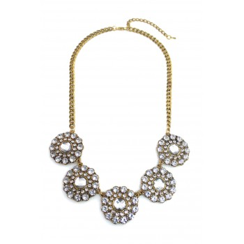 Glam Crystal Circle Floral Necklace