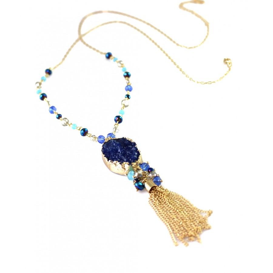 Liora beads cluster navy druzy stone tassel pendant necklace set sold out liora navy druzy stone tassel pendant necklace aloadofball Image collections