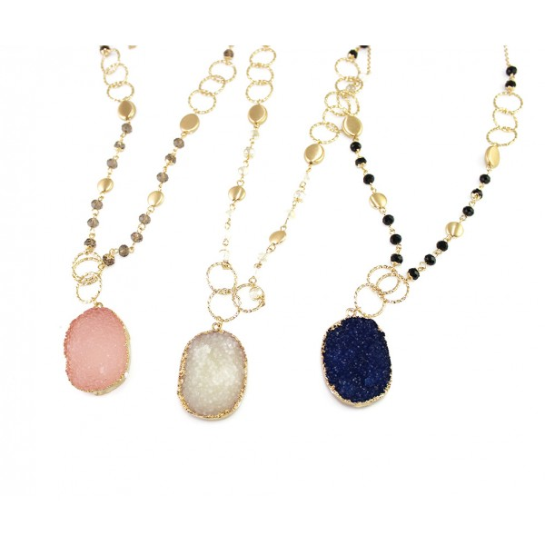 Kaira Beaded Oval Druzy Stone Long Necklace