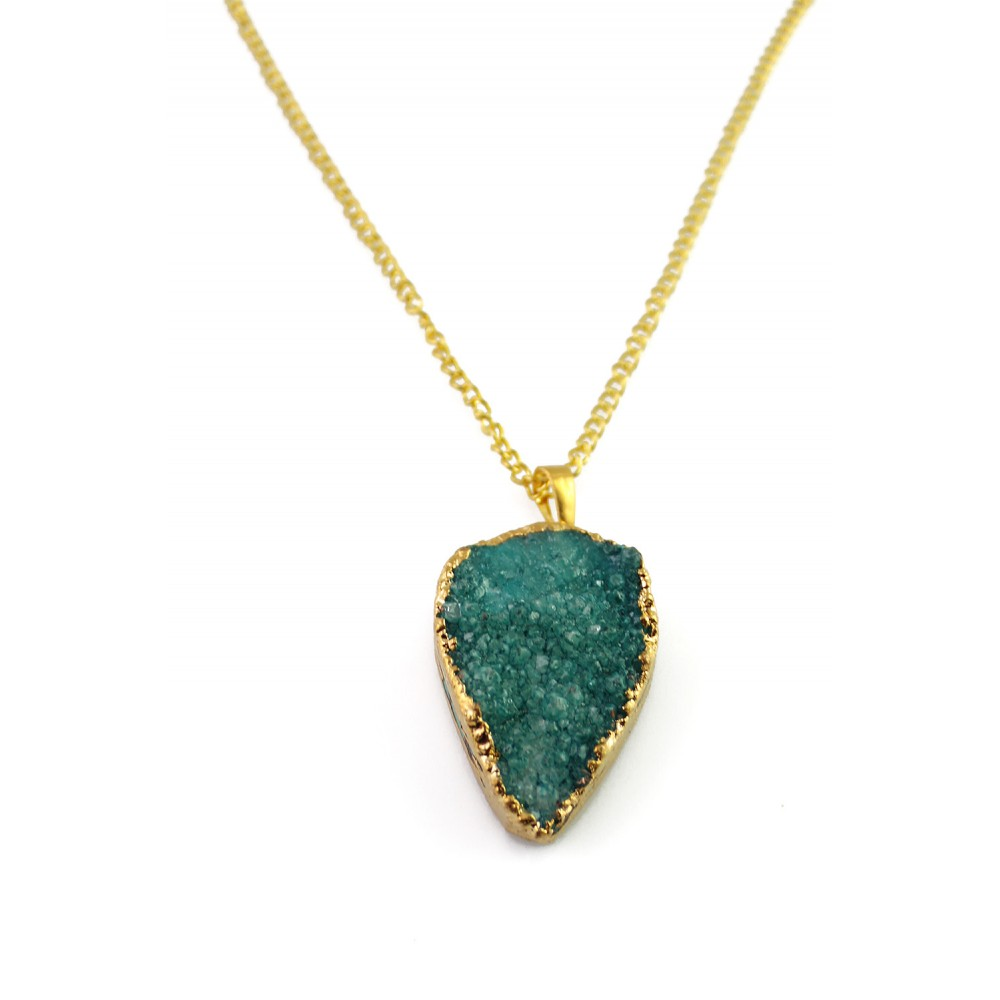 Emerald Green Teardrop Druzy Stone Pendant 18k Gold Plated ... - photo#26