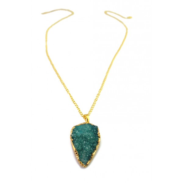 Cyril Emerald Green Teardrop Druzy Stone Pendant Necklace