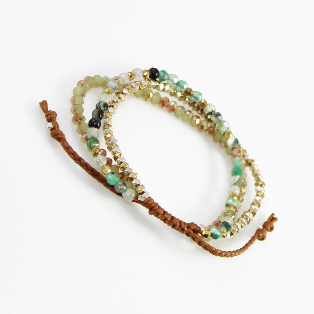 Boho Semi Precious Natural Faceted Glass Beads Wrap Bracelet