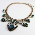 Larken Green Art Deco Crystal Encrusted Bib Necklace