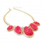 Hot Pink Mojova Geode Druzy Stone Bib Necklace