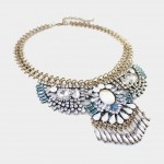 Howlite Marble Art Deco Crystal Fringe Statement Necklace