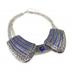 Royal Knight Sapphire Smokey Crystal Encrusted Collar Necklace
