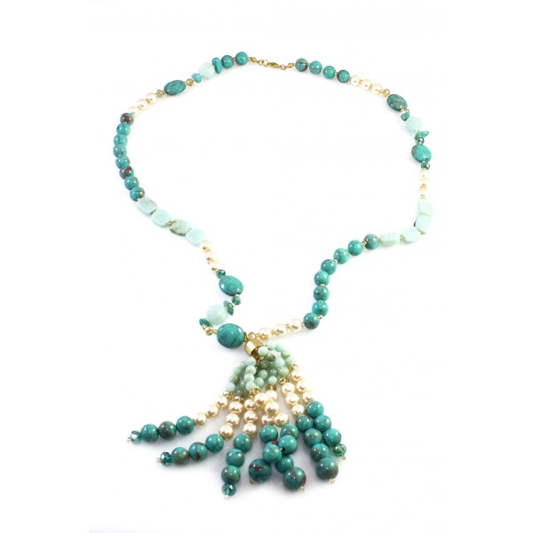 Boho Glam Turquoise Beads Tassel Necklace