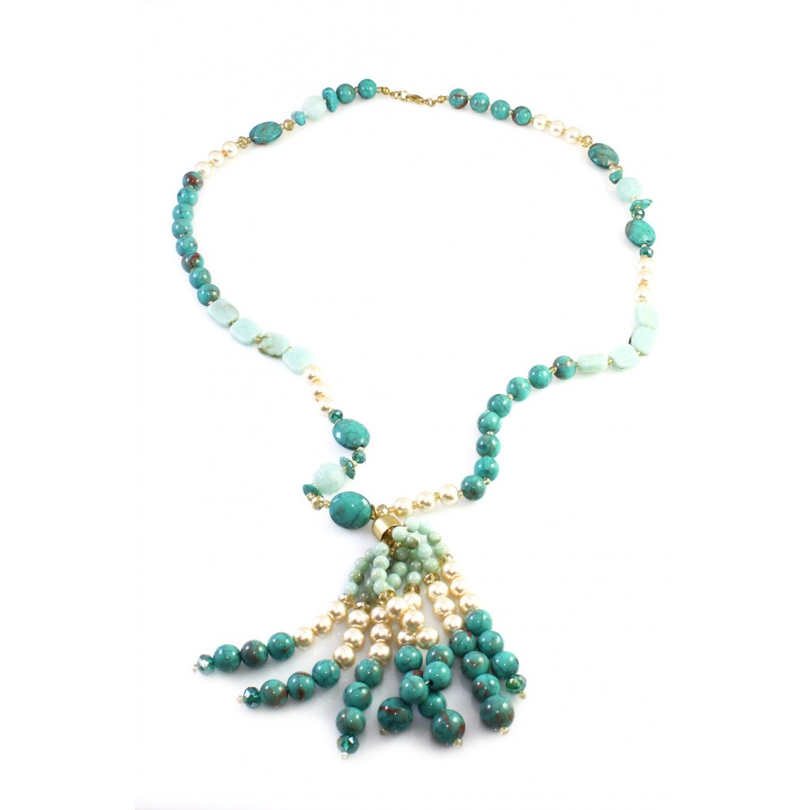 Fabulous SOLEH Turquoise Fragments Beaded Pearls Three Strands Statement  OY53