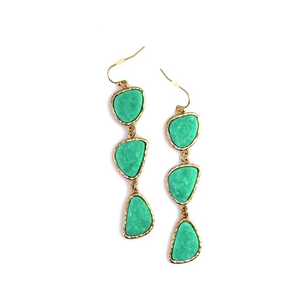Turquoise Druzy Stone Trio Drop Earrings