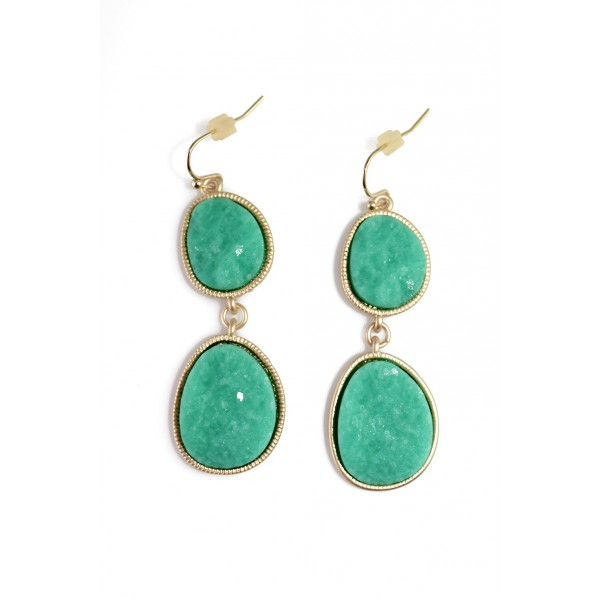 Turquoise Duo Oval Druzy Stone Drop Earrings