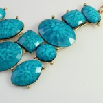Turquoise Marbled Stone Fragments Statement Necklace