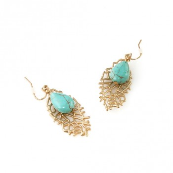Turquoise Teardrop Stone Gold Leaf Drop Earrings