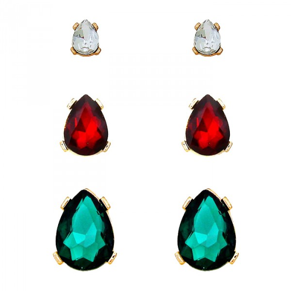Teardrop Crystal Rhinestone Stud Earrings