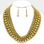 Metallic Gold Beaded Multi-Strand Statement Necklace