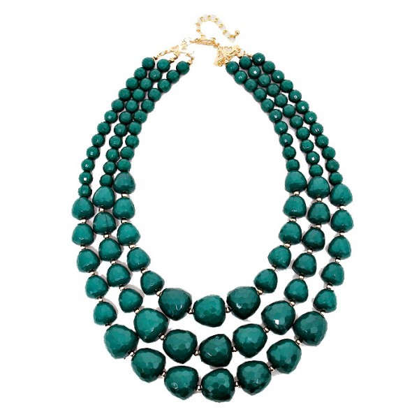 Hunter Green Faceted Multi layered Pebbles Necklace