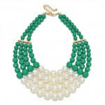 Greene Beaded Multi-Strand Pearl Accented Two Tone Necklace