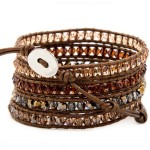 Brown & Champagne Stones on Brown Leather Wrap Bracelet