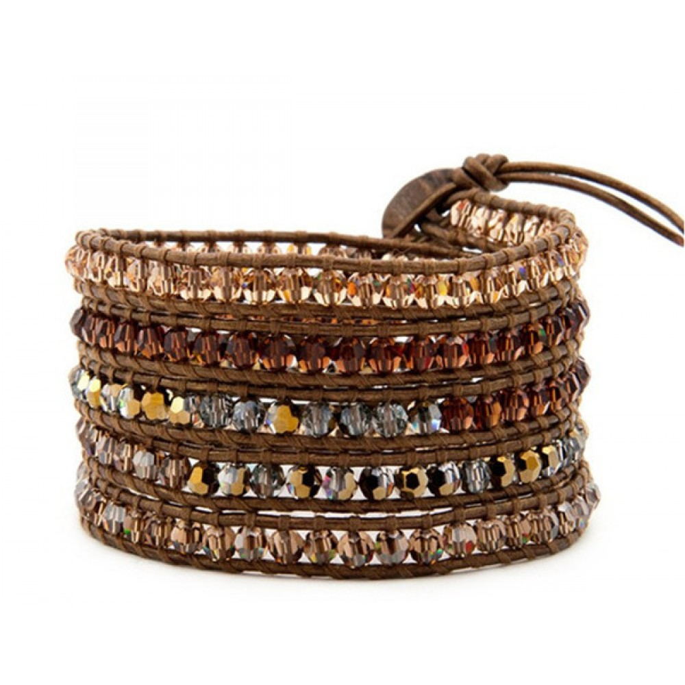 Sale Brown & Champagne Stones On Brown Leather Wrap Bracelet