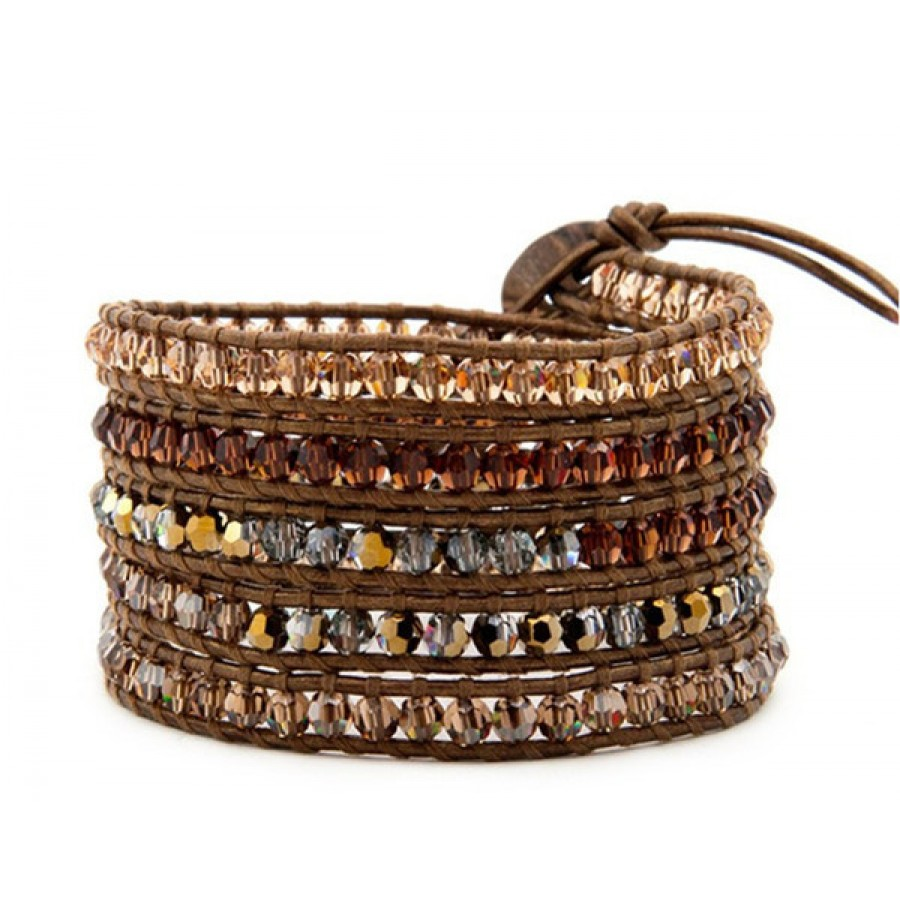 Brown Champagne Stones On Leather Wrap Bracelet